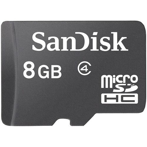 Karta microSDHC 8GB od firmy Sandisk. Klasa szybkości: 4. Typ microSHDC coraz częściej jest standardowo kompatybilny z nowymi telefonami komórkowymi oraz smartfonami.